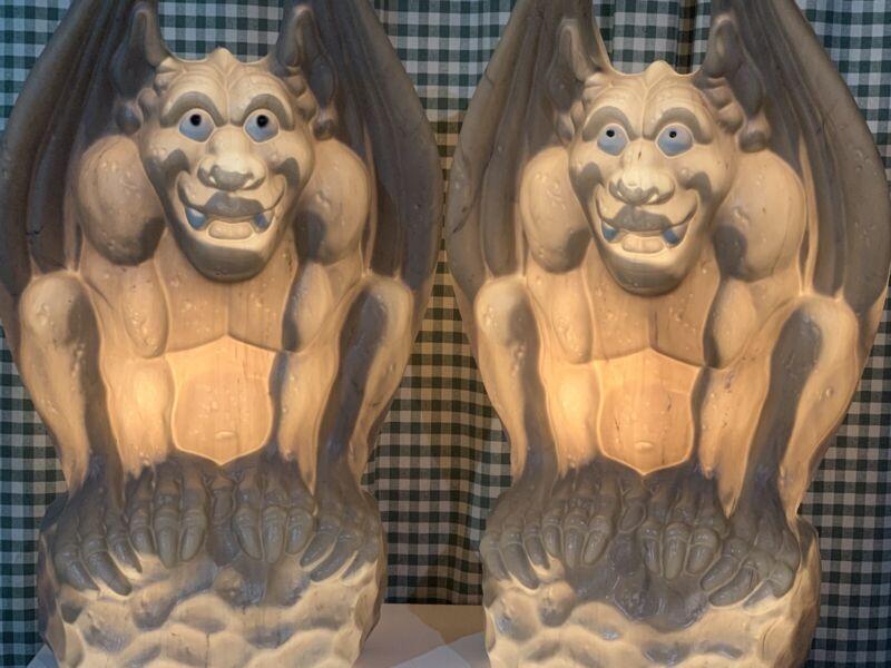 "Vintage Empire Gargoyle Monster Blow Molds Light Up 28"" Halloween Decoration"