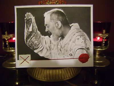 St. Padre Pio LARGE Holy Mass Relic Card sealed with Prayer.