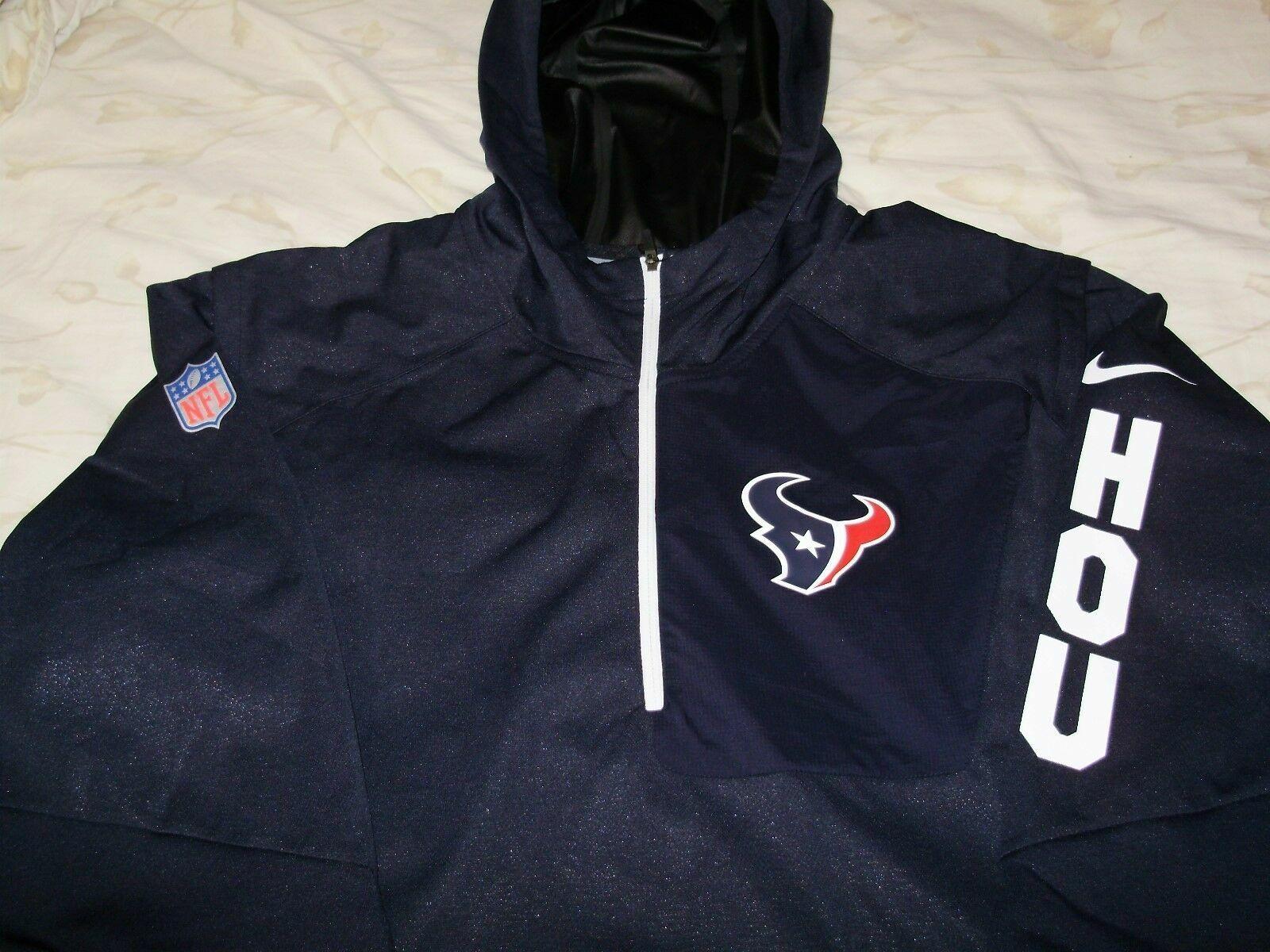 best service 4d967 1715b NFL Houston Texans Nike Shield Alpha Fly Rush 1/4 Zip Hoodie Jacket Men's  2xl