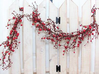 Christmas Burgundy/Red Berry Garland - Farmhouse Decor - FREE SHIPPING