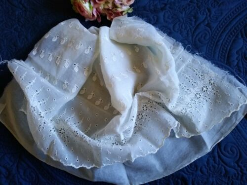 """ANTIQUE EMBROIDERED COTTON TULLE LACE DRESS/SKIRT PANEL~32"""" x 35"""""""
