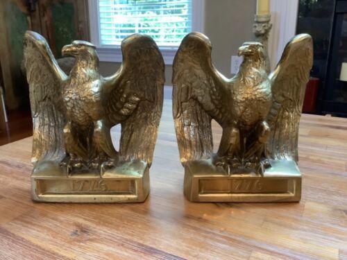 Vintage Patriotic Brass Eagle 1776 Bookends ~ Made by PM Craftsmen Florida, USA