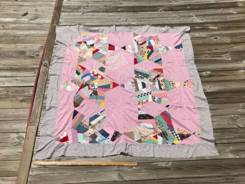 Antique Touching Stars Quilt TOP Feed Sack Material Blue Red and White