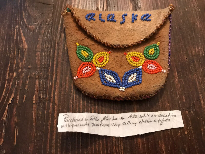 Vintage Tlingit Beaded Hide Bag With Flowers Sitka Alaska Early 1900's