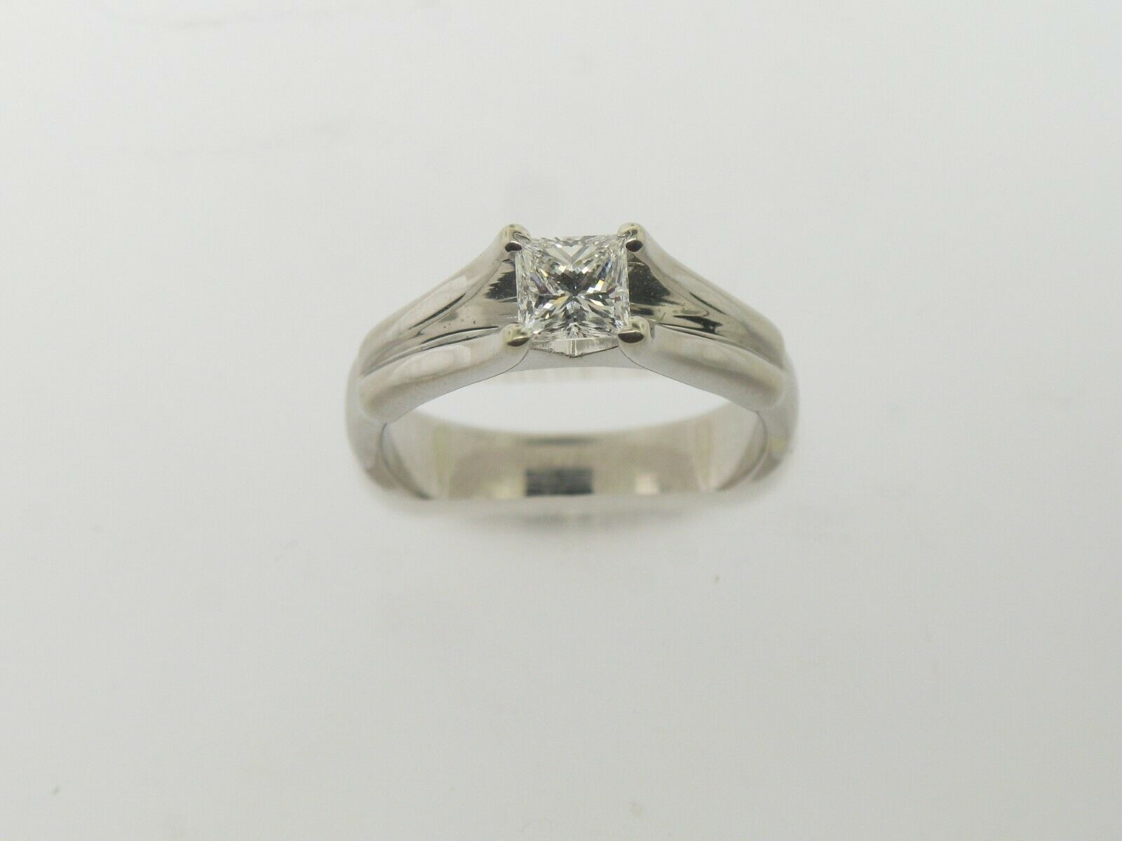 18K White Gold .64 CT Princess Cut Engagement Ring (Internally Flawless) (GIA) 9