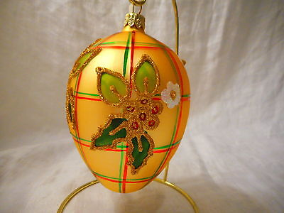 Poland Egg Glass Christmas Ornament Mouth Blown Hand Painted Glitter Holly