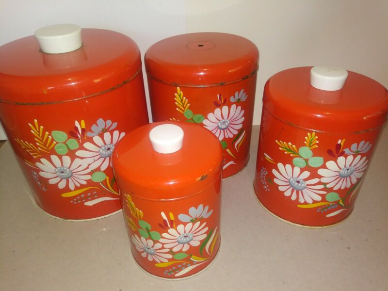 VTG Ransburg Canisters Orange Hand Painted w/ Daisies 4pc set