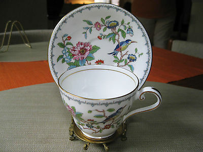 AYNSLEY  PEMBROKE FOOTED CUP & SAUCER  BIRDS FLORAL FINE BONE CHINA ENGLAND