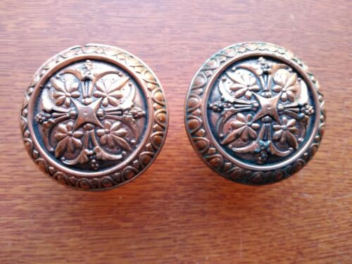 Two Antique Copper Clad Ornate Footed Doorknobs by Russell & Erwin c1875