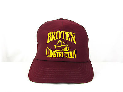 - VTG Broten Construction Advertising Adjustable Snapback Mesh Trucker Hat Cap USA