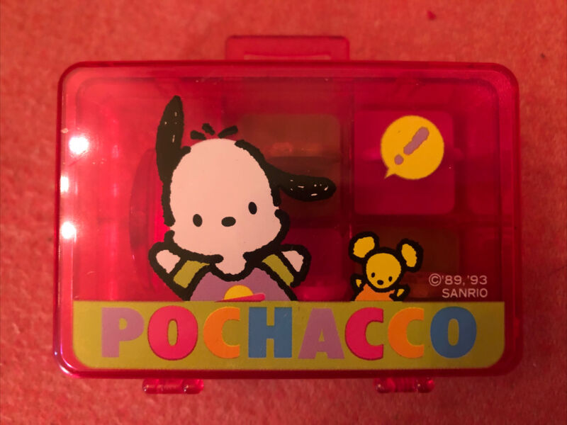 Vintage Pochacco Sanrio Plastic Stamp Case With 4 Stamps 1993