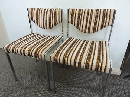 Retro Vintage Industrial Steel Wool Chairs Pair