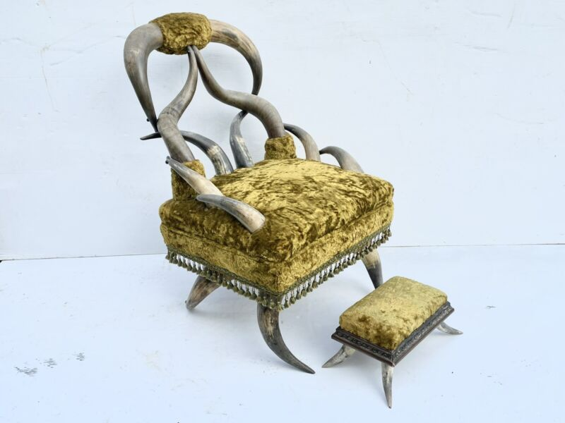 19th C Original Signed Fancy Horn Chair With Ottoman Set