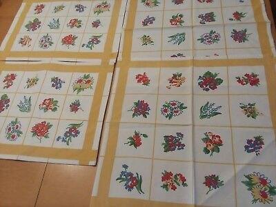 Lot (4) XOCHI Trellis Floral Daffodil 2 Placemats  2 Cloth Napkin Table Linen Y5