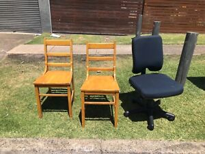 Free chairs 2 wooden chairs & 1 office chair