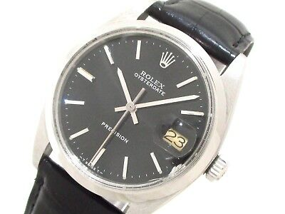 Auth ROLEX Oyster Date 6694 Black Men's Wrist Watch 826997