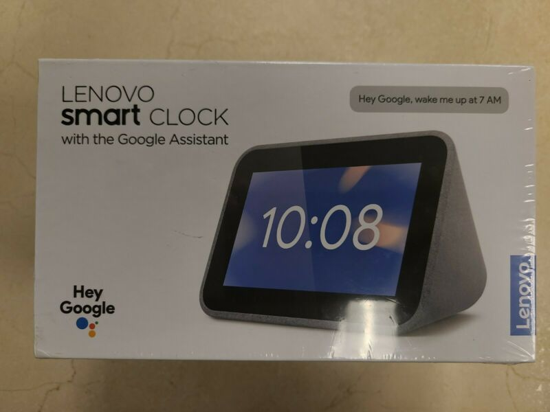 Lenovo - Smart Clock with Google Assistant - Gray Open Box. Free Shipping