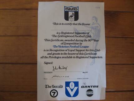 Collingwood Football Club Registered Supporter's Certificate 1977