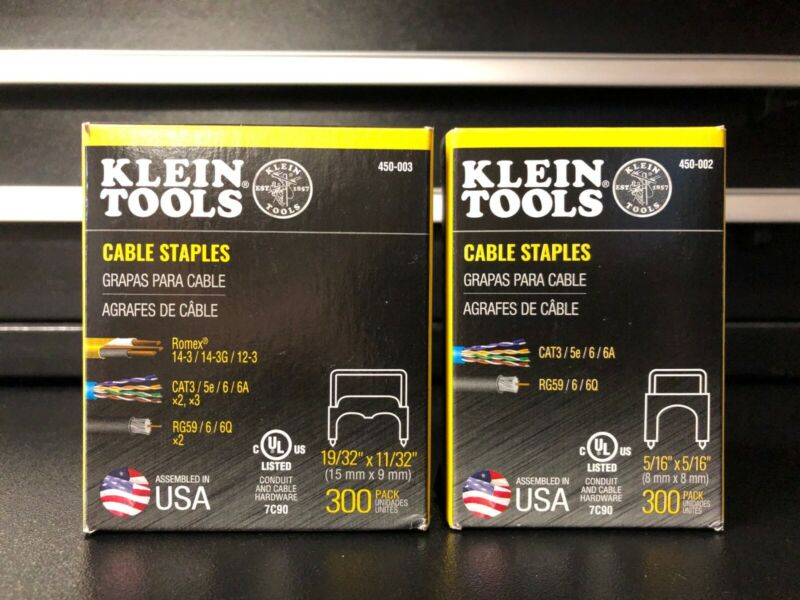 "Klein Tools 450-003 11/32"" x 19/32"" and 450-002 5/16"" x 5/26"" Staples"