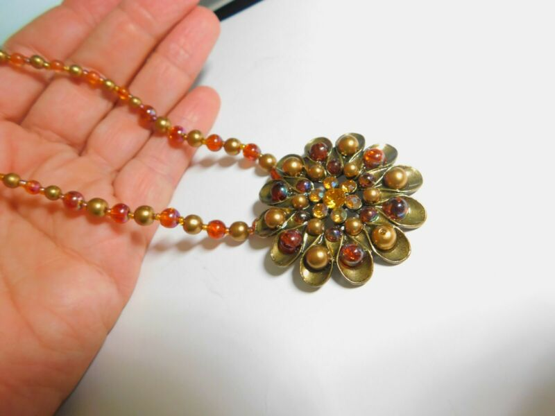 Golden Topaz Rhinestone Flower Pendant Orange Gold Beaded Necklace Vintage