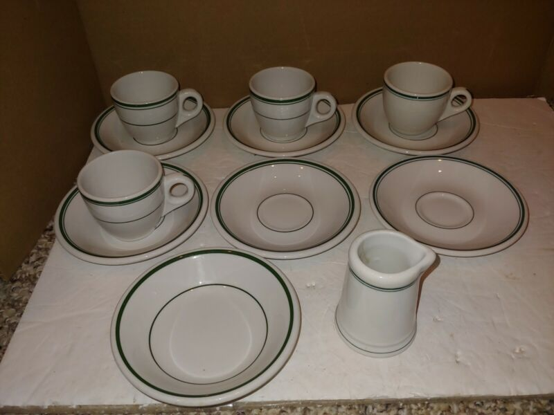 12 Vintage 50s/60s Buffalo China,Demitasse,Espresso Cups,Saucers,Creamer,Fruit