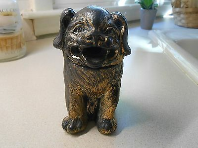 VINTAGE POT METAL HEAVY DOG INCENSE BURNER.