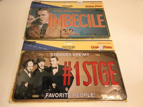 Three Stooges Metal License Plate Lot of 2 - Novelty - Imbecile & #1STGE - New