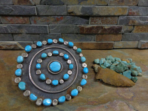 HUGEST!!! NAVAJO ZUNI STERLING 25 TURQUOISE CONCHO BROOCH PIN PAWN FRED HARVEY