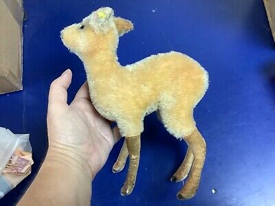 "Early ANTIQUE Steiff Fawn Deer Vintage German Toy Mohair 9"" FF BUTTON ID"