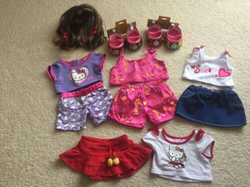 Build A Bear Metallic Rainbow Shoes Mary Janes Pjs Skirt Hello Kitty Pajamas - $14.99