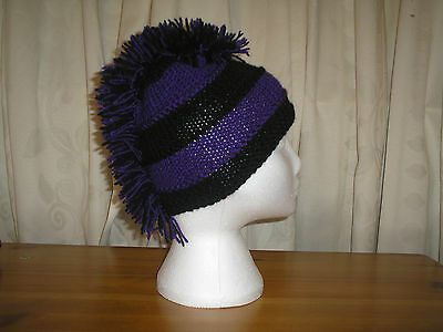 Emo Hats (Knitted hats, festival, gothic, biker, punk, emo,black and purple Football.)