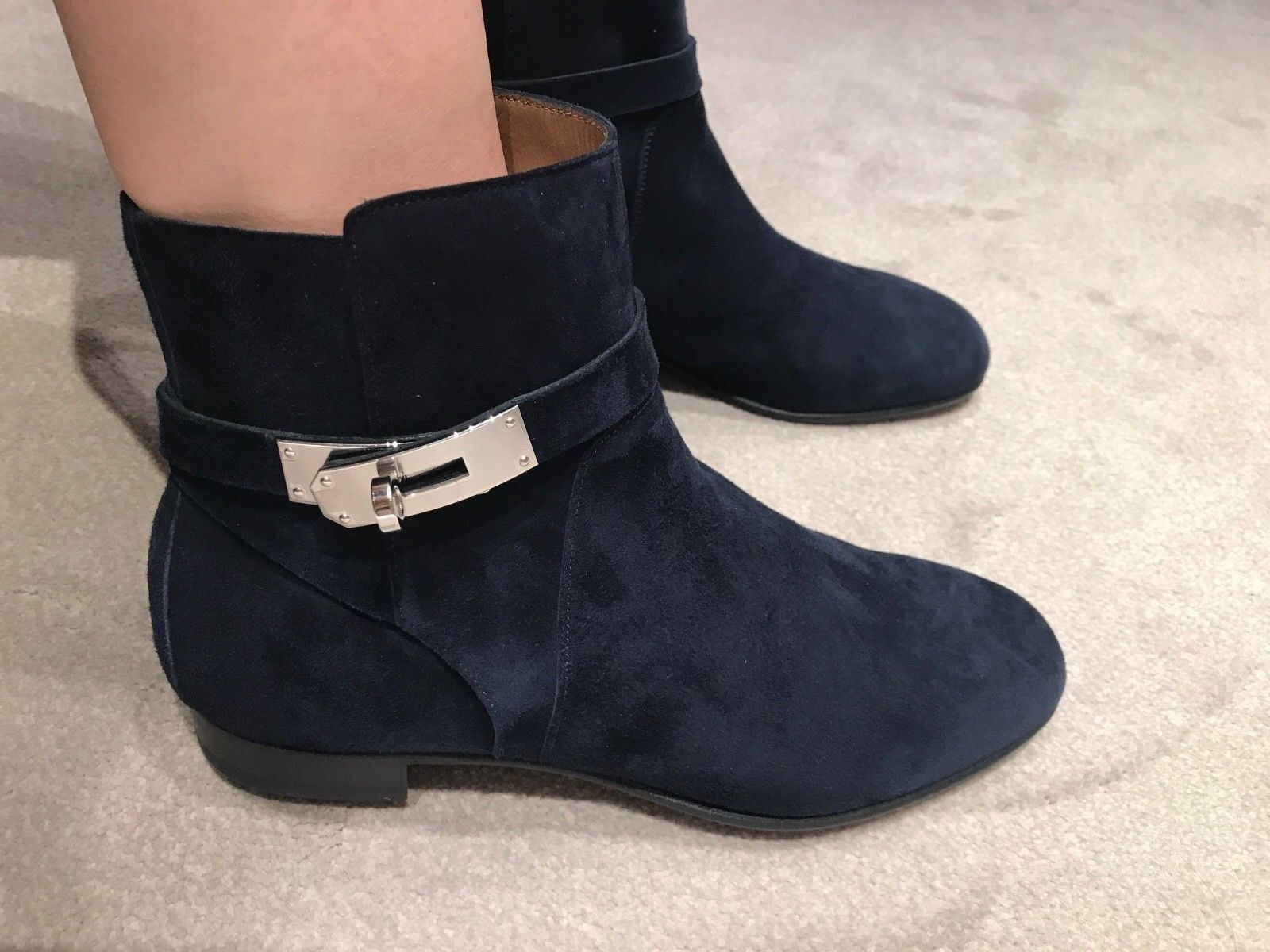 big sale b42b2 a7620 Женские сапоги или ботинки HERMES NEO BLUE MARINE SUEDE LEATHER LOW BOOTS  PALLADIUM KELLY HARDWARE SIZE 38