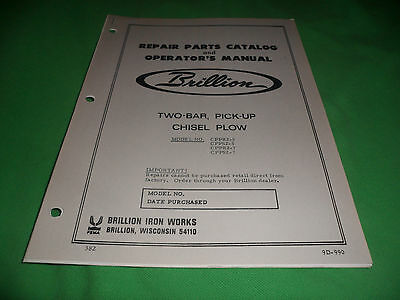 Drawer 16 Brillion Two-bar Pick-up Chesel Plow Repair Parts Catalog
