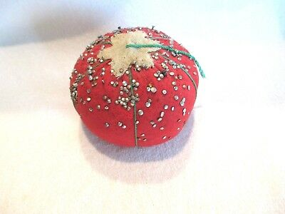 "VTG TOMATO PINCUSHION--JAPAN--LOADED W/PINS LIKE ""GRANDMA'S"""