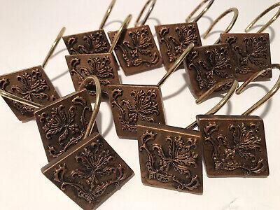 12 Shower Curtain Hooks Rings Ornate Resin Bronze