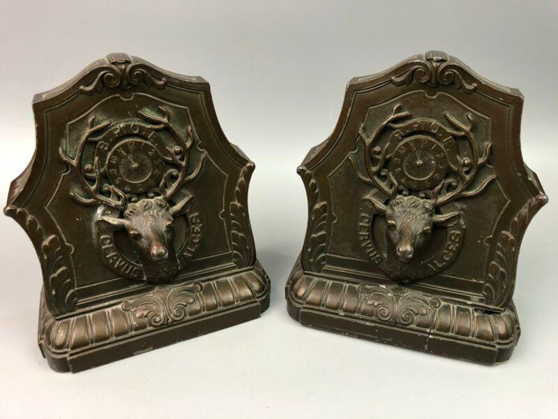 Antique BPOE Elks Club Bronze Book Ends Elk Clock