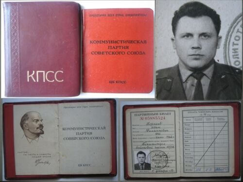 Soviet officer military pilot .Original membership card of the Communist Party