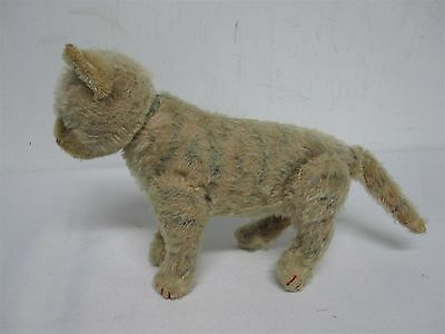 "ANTIQUE STEIFF MADE US ZONE GERMANY 6.25"" STRIPED TABBY CAT w JOINTED LEGS HEAD"