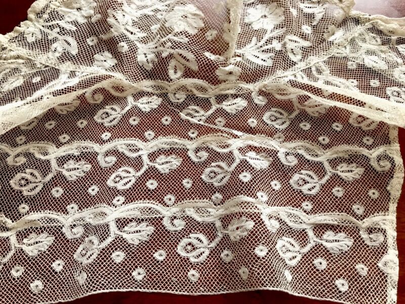 Antique Off White Needle Work Lace Edwardian High Neck Collar