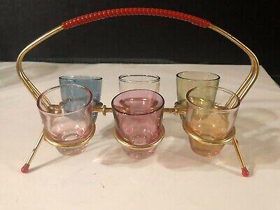 Vintage Set of 6 SHOT GLASSES in GOLD METAL CADDY