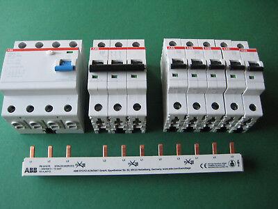5x ABB S201 B16 +1x B16-3 +1 FI Schutzschalter F204A-40/0,03 + Phasenschiene SET