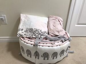Pink and Grey - Bay Girl Crib Bedding