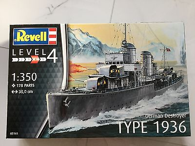 REVELL 1/350 WW II GERMAN DESTROYER TYPE 1936 PLASTIC MODEL KIT 05141 F/S