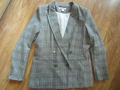 WOMENS H&M GRAY PLAID LONG SLEEVE 4 BUTTON BLAZER JACKET COAT SIZE 8 US 38 EUR