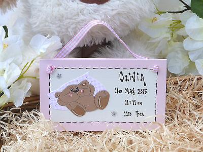A16 Personalised Newborn Baby GIRL BOY Birth Details Keepsake Gift PINK BLUE