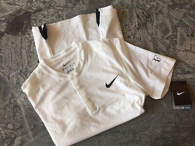 Activewear Bnwt Roger Federer Au Open 19 Tennis L Large Uniqlo Matchwear White Polo Shirt!