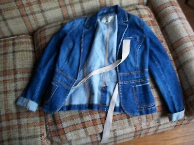 Belted Jeans Spandex (Old Navy Womens Size XS Belted Jeans Jacket 98/2 Cotton/Spandex)