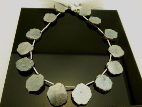 """Natural Pyrite Freeform Slab Polished Slice Briolette Gemstone 14 Beads Std 9"""""""