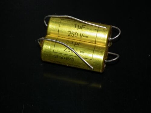 Two NOS MP capacitors 1 uF / 250V Rifa Sweden (PIO - Paper in oil capacitor)