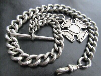 HEAVY 93g ANTIQUE c1900 CHUNKY SOLID SILVER ALBERT POCKET WATCH CHAIN FOB MEDAL
